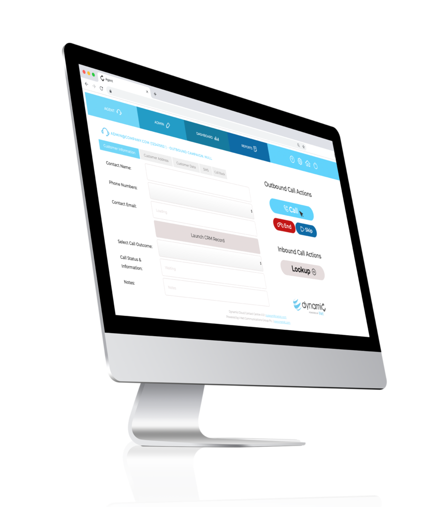 Dynamic Contact Centre Agent Screen